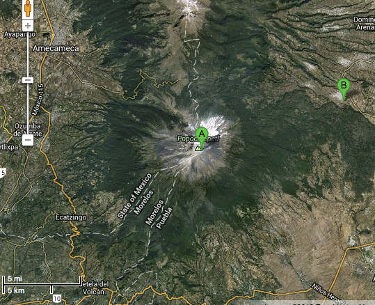 A map of Popocatépetl (A) and San Nicolás de Los Ranchos (B). Copyright TerraMetrics and Google
